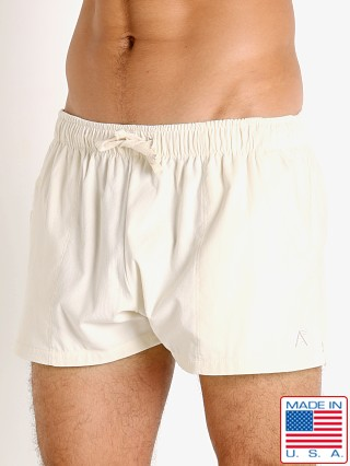 Model in ivory LASC Lightweight Corduroy Shorts