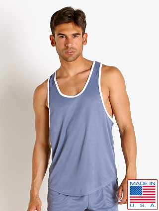 Model in denim LASC Matte Jersey Tank Top