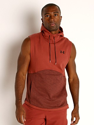 Model in cinna red Under Armour Double Knit Sleeveless Hoodie