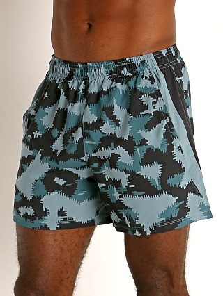 "Model in black/blue camouflage Under Armour Launch 5"" Running Short Black/Blue Camo"