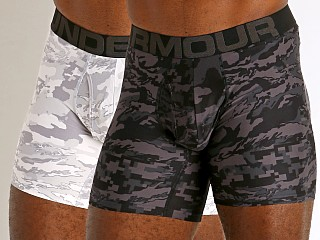 "Under Armour Tech Mesh Front 6"" Boxerjock 2-Pack Mod Gray/Black"