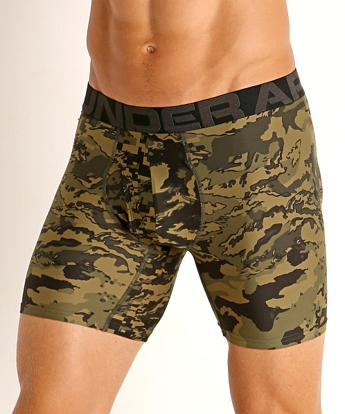 "Under Armour Tech Mesh Front 6"" Boxerjock 2-Pack Green Citrine"