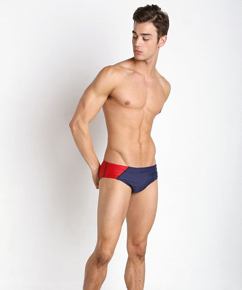 Speedo Revolve Splice Swim Brief Navy/Red