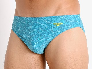 "Model in ceramic Speedo Wavy Puzzle Palm Solar 1"" Swim Brief"