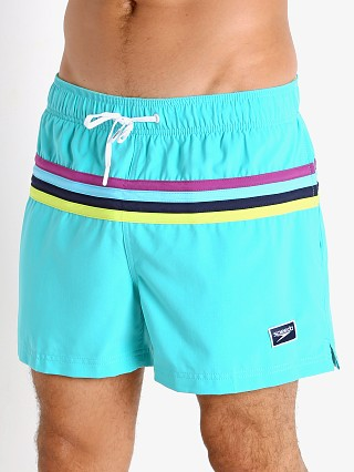 Model in blue atoll Speedo Colorblock Volley Swim Trunk