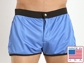 Model in sky blue LASC Sixties Mesh Trunk
