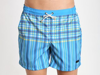 Model in open turquoise Hugo Boss Cardinalfish Swim Shorts