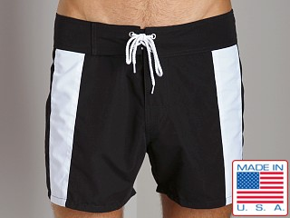 Sauvage Boardwalk Surf Trunks Black/White
