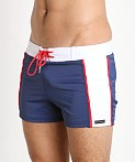 Sauvage Patriot Sport Swim Trunk Navy White Red, view 3