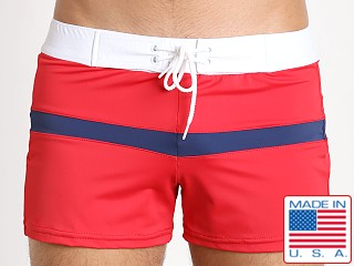 Sauvage Patriot Spliced Sport Swim Trunk Red Navy White