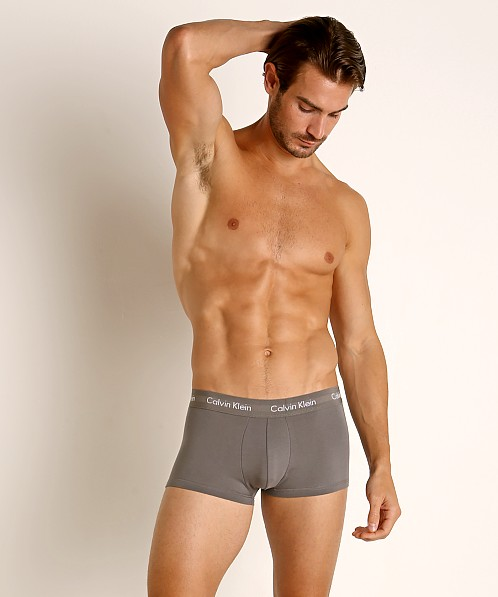 Calvin Klein Cotton Stretch Low Rise Trunks 3-Pack Grey/Scarlet/