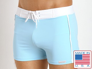 Model in sky blue Sauvage Retro Nylon/Lycra Swim Shorts