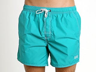 Model in teal Hugo Boss Lobster Swim Shorts