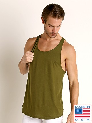 Model in army LASC Gym Tank Top