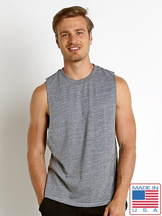 Model in heather grey LASC Deep Cut Out Tank Top