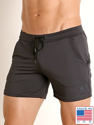 Model in charcoal LASC Pique Mesh Performance Workout Short