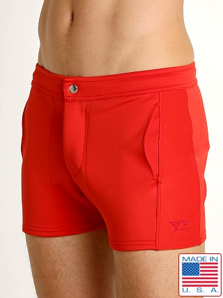 Model in red LASC Retro Coach's Short