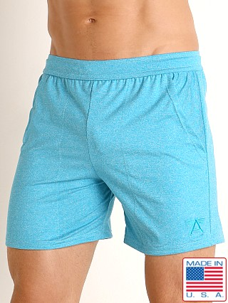 Model in heather caribbean LASC Performance Training Shorts