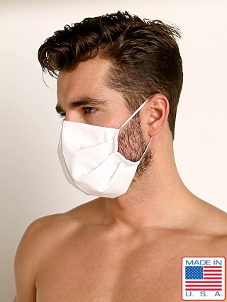 Model in white LASC 100% Cotton Face Mask