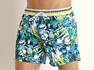 Model in green/blue print Hugo Boss Mandarinfish Swim Shorts