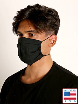 Model in black LASC 100% Cotton Face Mask
