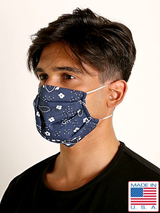 Model in navy LASC Fashion Face Mask Bandana Print