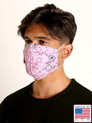 Model in pink LASC Fashion Face Mask Bandana Print