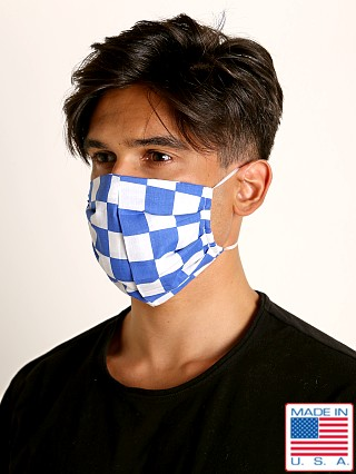 Model in blue checks LASC Fashion Face Mask
