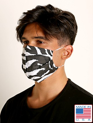 Model in zebra print LASC Fashion Face Mask