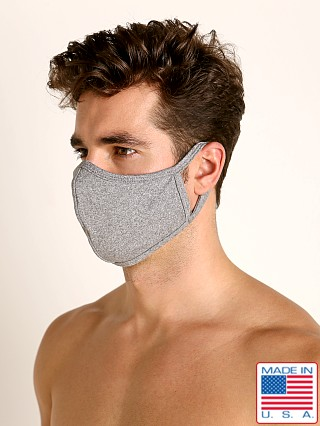 Model in heather grey LASC Stretch Cotton Face Mask