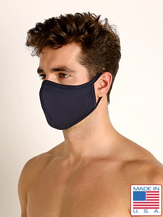 Model in navy LASC Stretch Cotton Face Mask