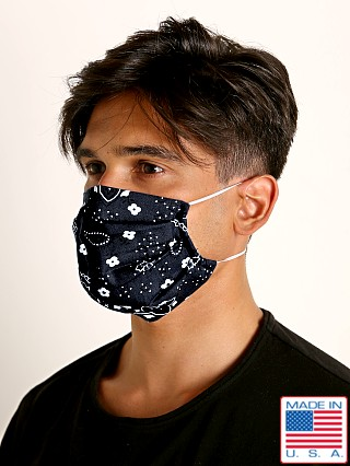 Model in black LASC Fashion Face Mask Bandana Print