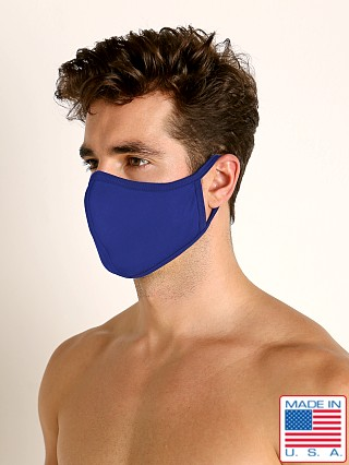 Model in cobalt LASC Stretch Cotton Face Mask