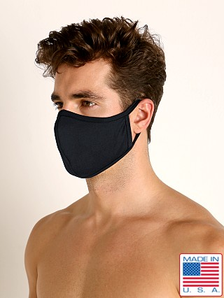 Model in black LASC Stretch Cotton Face Mask