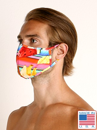 Model in fruit stripes LASC Fashion Face Mask