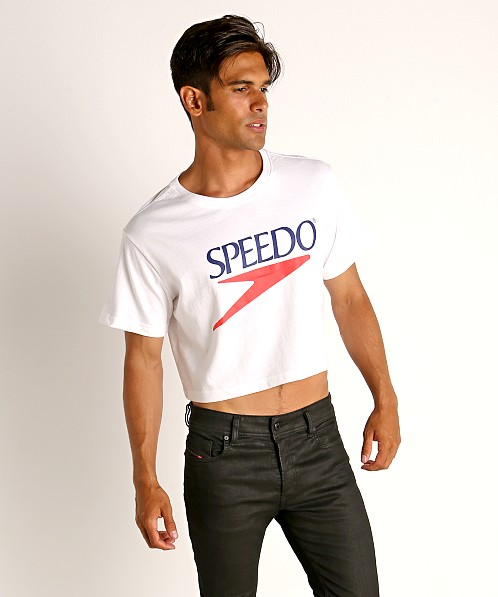 Speedo Vintage Logo Crop Top White