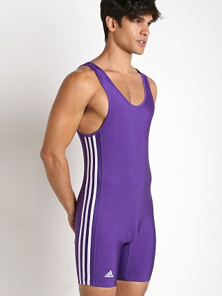 Model in purple/white Adidas 3 Stripe Wrestling Singlet