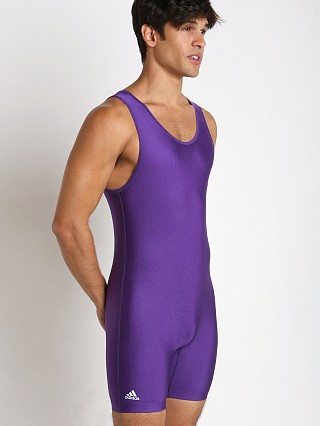 Model in purple Adidas Solid Wrestling Singlet