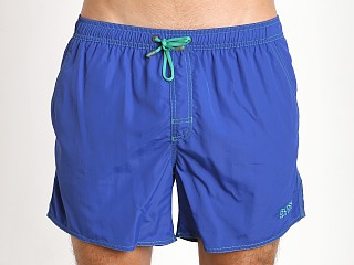 Model in royal Hugo Boss Lobster Swim Shorts