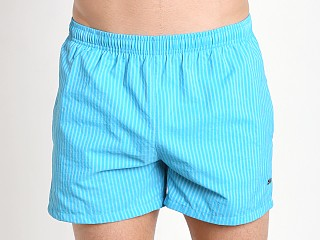 Model in turquoise stripe Hugo Boss Tuna Swim Shorts Turquoise