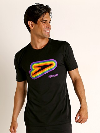 Speedo Logo Rainbow Pride Tee Black/Rainbow