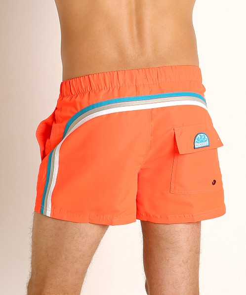 "Sundek 13"" Elastic Waistband Surf Trunk Fluo Orange #9"