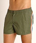 "Sundek 13"" Elastic Waistband Surf Trunk Dark Army #7, view 3"