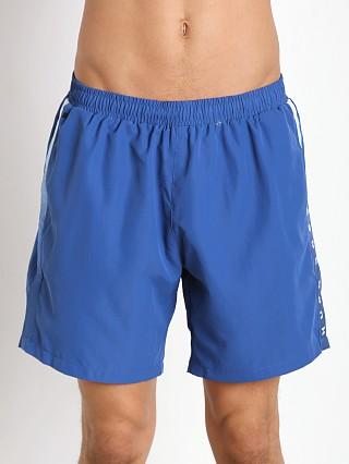 Model in royal Hugo Boss Seabream Swim Shorts