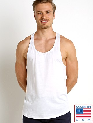 Model in white LASC Gym Tank Top