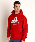 Adidas Swim 10 Oz Fleece Hoodie Red, view 3