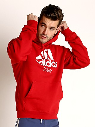 Adidas Swim 10 Oz Fleece Hoodie Red