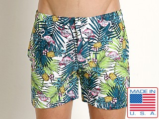 Model in pink flamingos LASC Laguna Swim Shorts