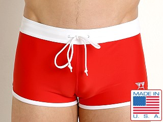 LASC American Square Cut Swim Trunks Fire Red