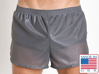 Model in charcoal American Jock 70's Retro Featherweight Running Shorts
